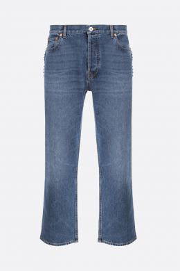 VALENTINO: jeans straight-fit con borchie signature Colore Blu