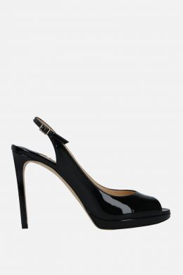 JIMMY CHOO: Nova platform sandals in patent leather Color Black