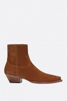 SAINT LAURENT: stivaletto texano Lukas in suede Colore Marrone