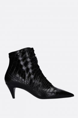 SAINT LAURENT: stivaletto stringato Kiki in pelle stampa coccodrillo Colore Nero