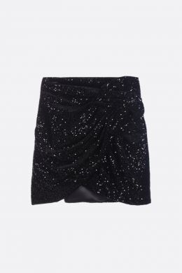 SAINT LAURENT: gonna corta in velluto con paillettes Colore Nero