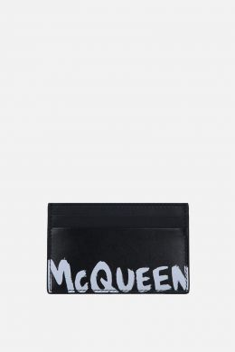 McQueen Graffiti smooth leather card case