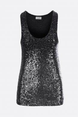 loose-fit sequinned fabric tank top