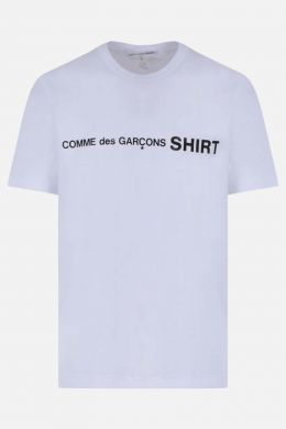 COMME des GARCONS SHIRT: t-shirt in cotone stampa logo Colore Bianco