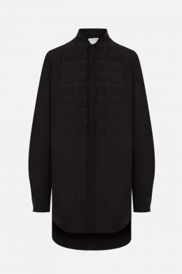 quilted panel silk shirt