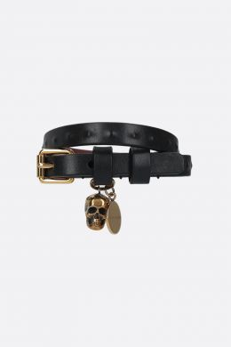 ALEXANDER McQUEEN: Skull smooth leather double-wrap bracelet Color Black