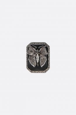 ALEXANDER McQUEEN: Butterfly brass ring Color Silver