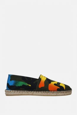 VALENTINO GARAVANI: espadrilla in canvas stampa Camouflage Multicolor Colore Nero