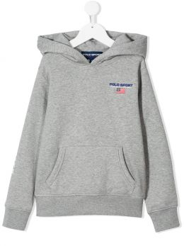 RALPH LAUREN KIDS: Polo Sport cotton blend hoodie Color Grey