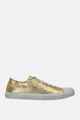 SAINT LAURENT: sneaker Bedford in denim laminato Colore Oro
