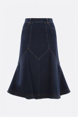SEE BY CHLOÈ: gonna midi svasata in denim Colore Blu