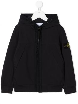STONE ISLAND JUNIOR: giubbotto full-zip in cotone tecnico con badge logo Colore Blu