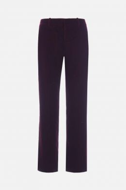 SAINT LAURENT: pantalone cropped in velluto Colore Rosso