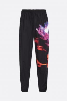 MARCELO BURLON COUNTY OF MILAN: pantalone jogging Blur Flower in nylon Colore Nero