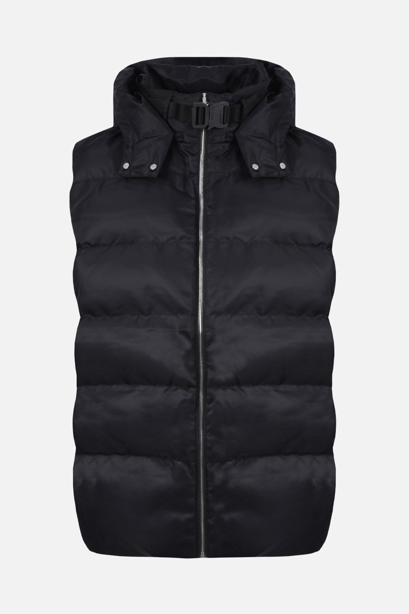 1017 ALYX 9SM: Rollercoaster buckle-detailed nylon sleeveless padded jacket Color Black_1