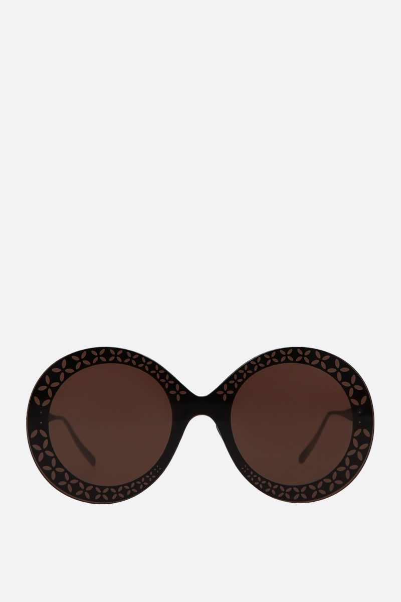 ALAIA: round-frame metal sunglasses Color Brown_1