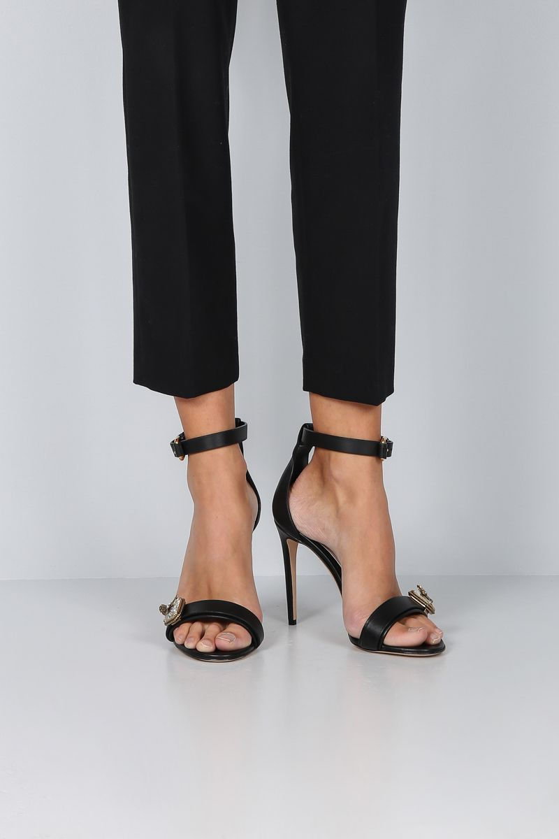 ALEXANDER McQUEEN: jewel-detailed smooth leather sandals Color Black_2