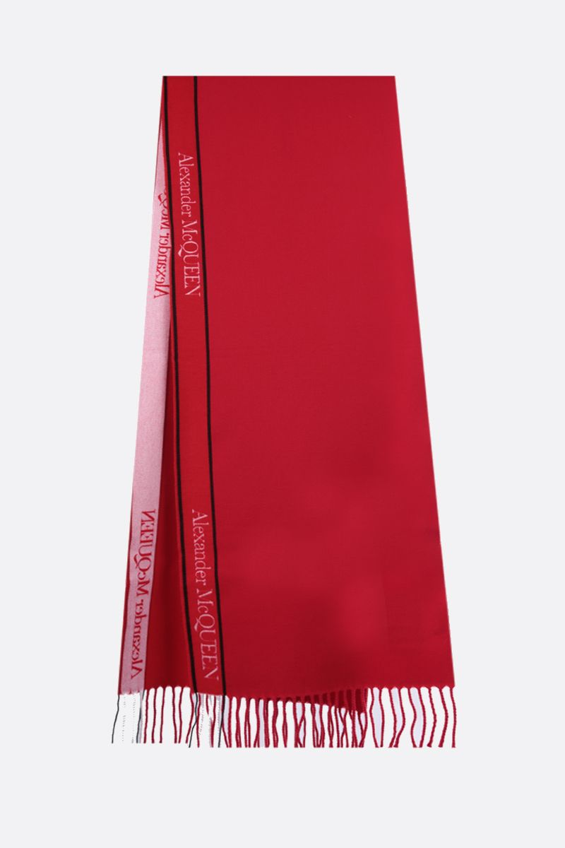 ALEXANDER McQUEEN: jacquard logo-detailed wool cashmere scarf Color Red_2