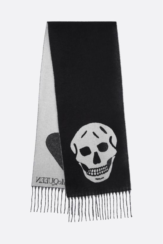 ALEXANDER McQUEEN: Blown Up Skull wool blend scarf Color Black_2