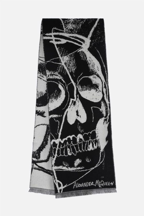 ALEXANDER McQUEEN: Exploded Drawn Skull wool scarf Color Black_2