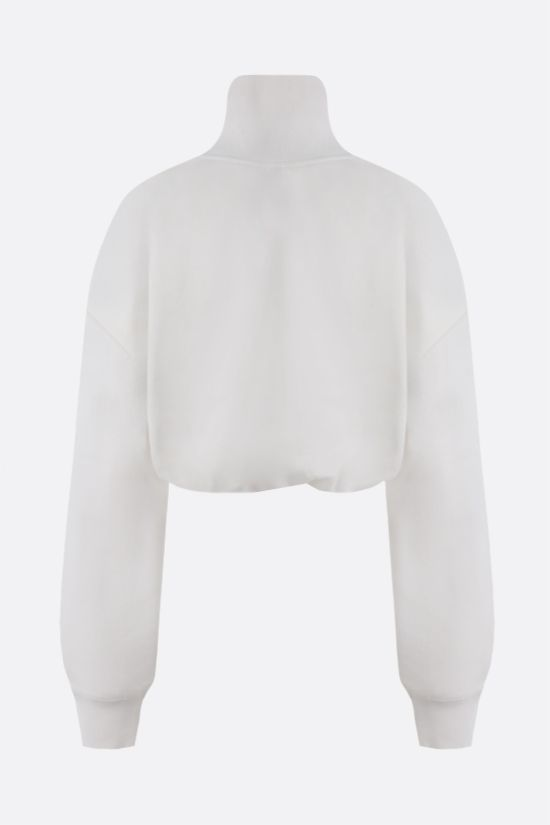 ALEXANDER WANG: logo embroidered cotton cropped sweatshirt Color White_2