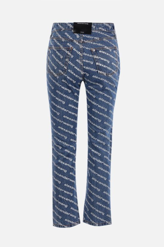 ALEXANDER WANG: jeans cropped stampa logo Colore Blu_2