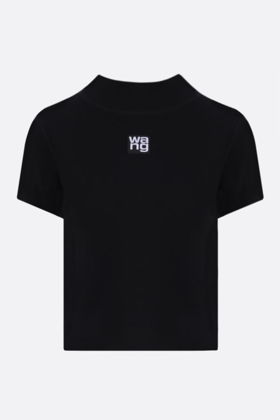 ALEXANDER WANG: logo-detailed jersey cropped t-shirt Color Black_1
