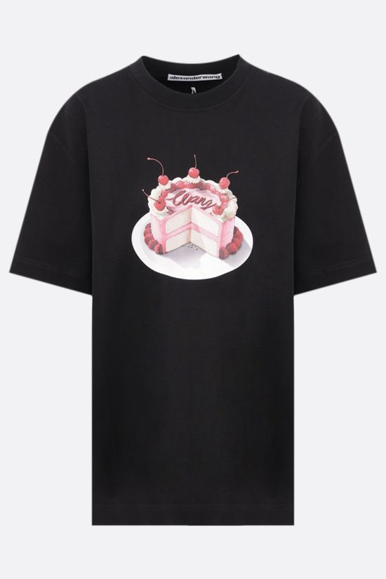 ALEXANDER WANG: Cake print oversize cotton t-shirt Color Black_1