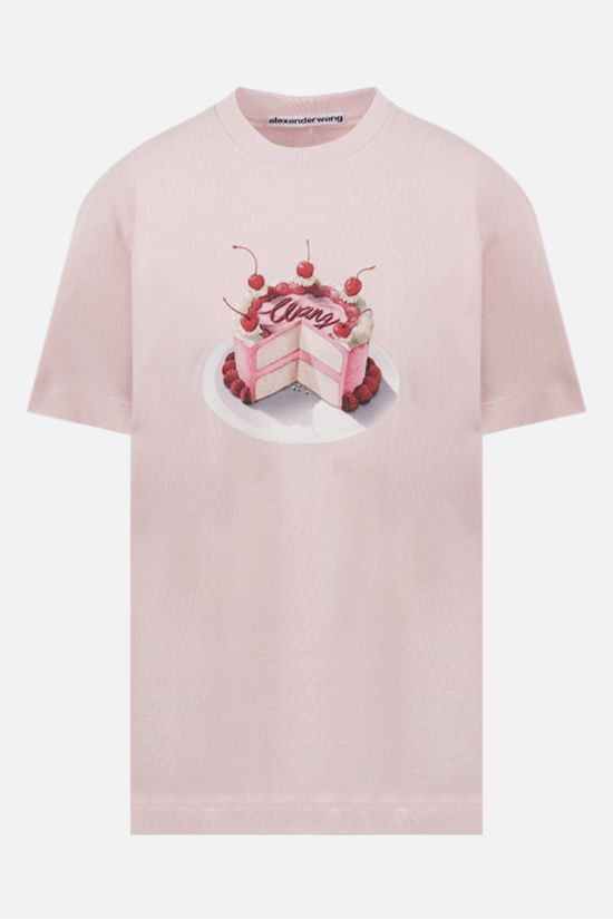 ALEXANDER WANG: Cake print oversize cotton t-shirt Color Pink_1