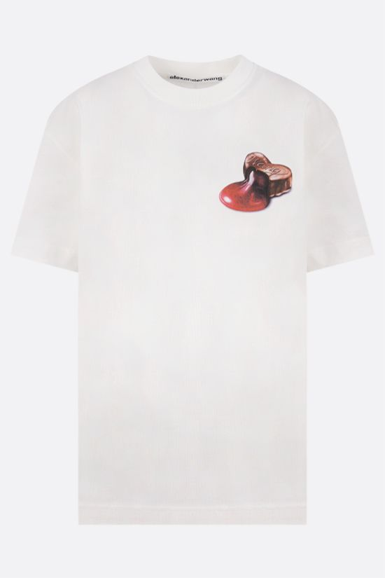 ALEXANDER WANG: Chocolate print oversize cotton t-shirt Color White_1