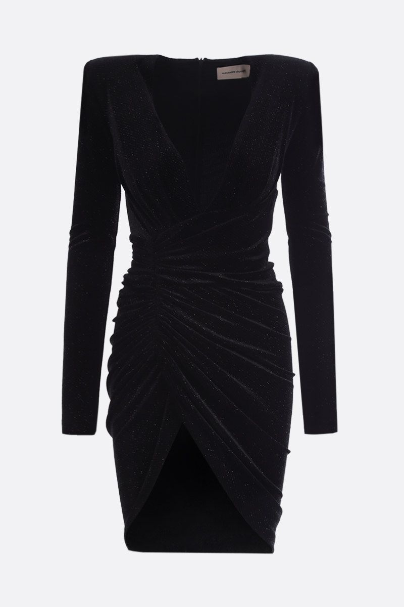 ALEXANDRE VAUTHIER: velvet and lurex draped minidress Color Black_1