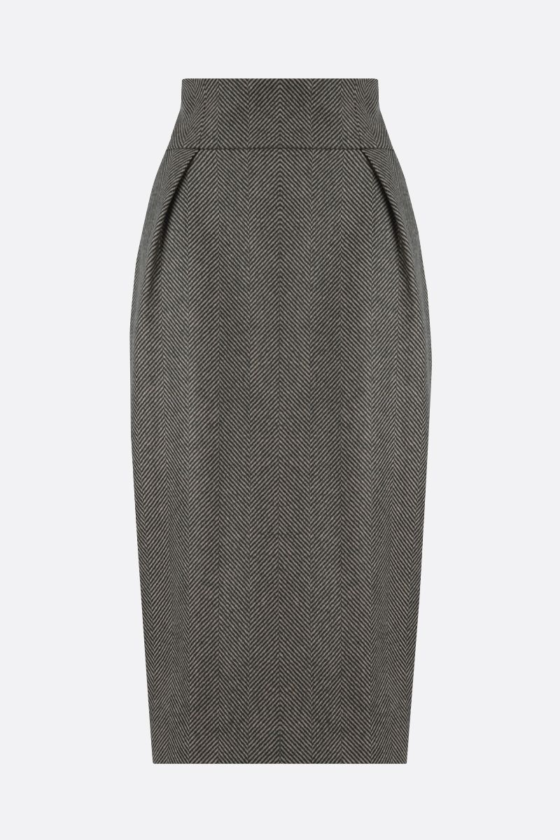 ALEXANDRE VAUTHIER: herringbone wool pencil skirt Color Brown_1