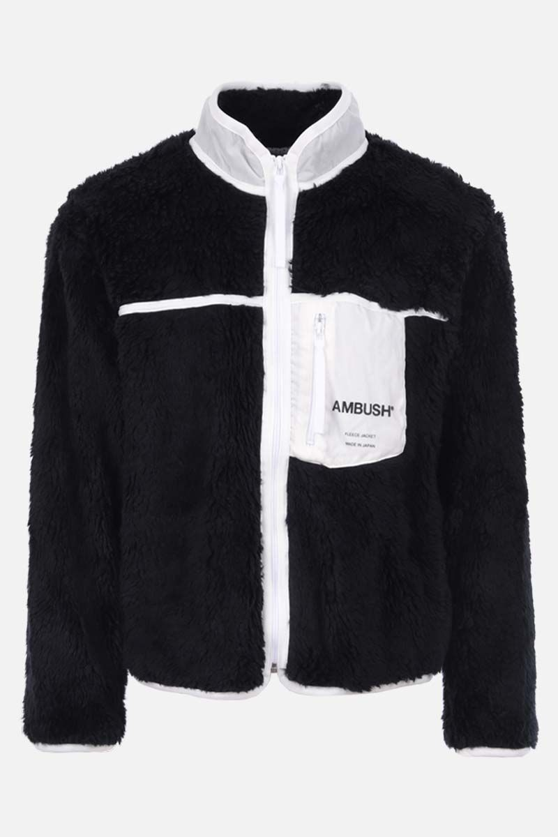 AMBUSH: pocket-detailed full-zip fleece jacket Color White_1