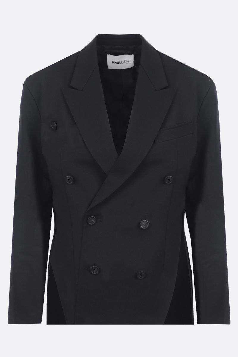 AMBUSH: wool blend double-breasted jacket Color Black_1