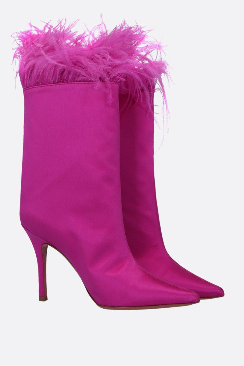 AMINA MUADDI: Nakia ankle boots in satin Color Pink_2