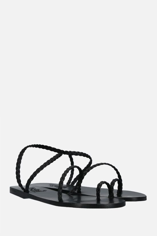 ANCIENT GREEK SANDALS: Eleftheria woven leather thong sandals Color Black_2
