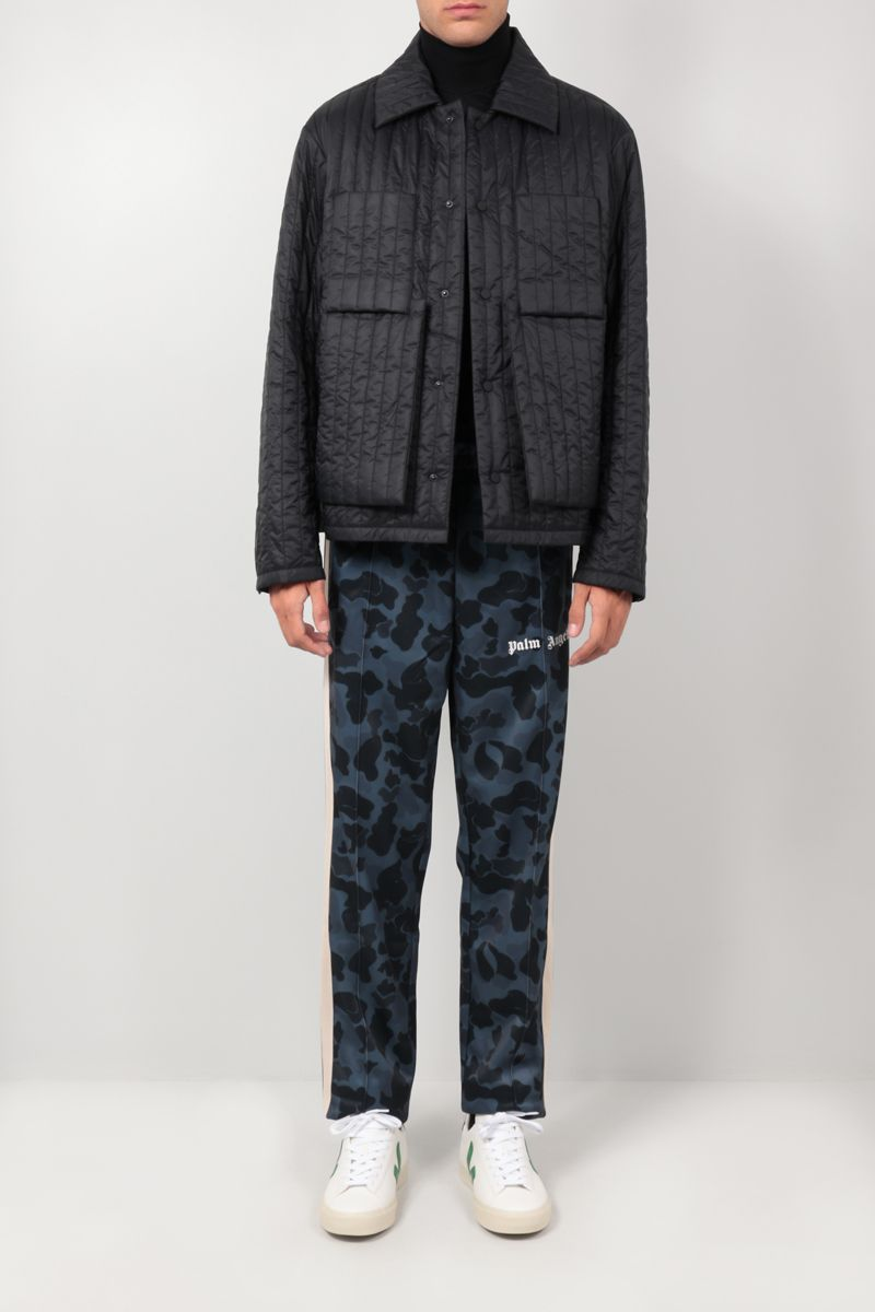 PALM ANGELS: camouflage print technical jersey track pants Color Black_2