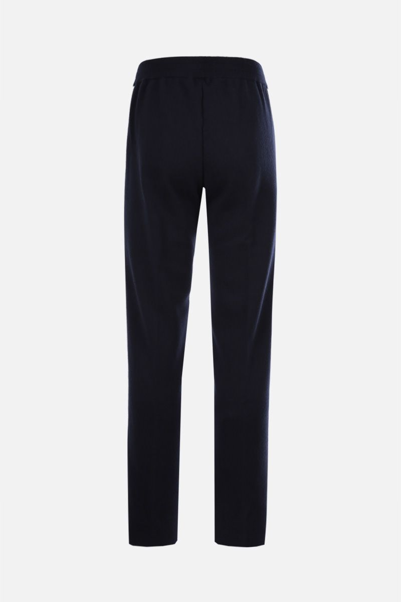 PALM ANGELS: Palm Tree embroidered cashmere wool blend joggers Color Blue_2