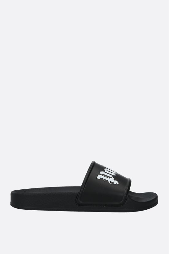 PALM ANGELS: logo-detailed rubber slide sandals Color Black_1