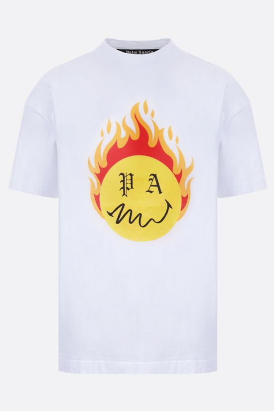 PALM ANGELS: t-shirt Burning Head in cotone Colore Bianco_1