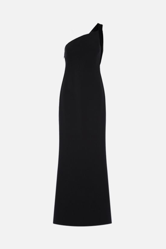 GIORGIO ARMANI: velvet trim-detailed crepe evening gown Color Black_1