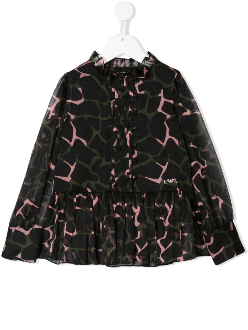 ARMANI JUNIOR: abstract printed georgette blouse_1
