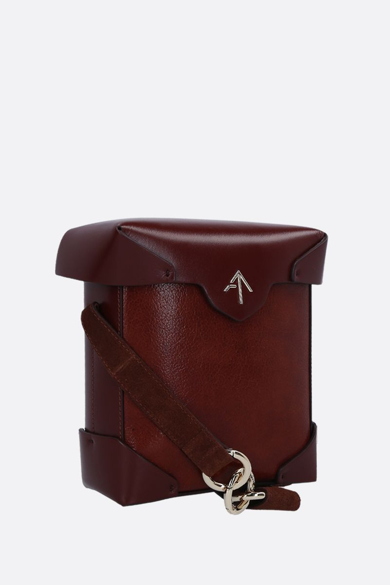 MANU ATELIER: Pristine Mini crossbody bag in textured leather Color Brown_2