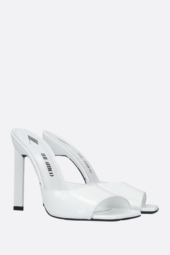 THE ATTICO: Kaia patent leather mule sandals Color White_2