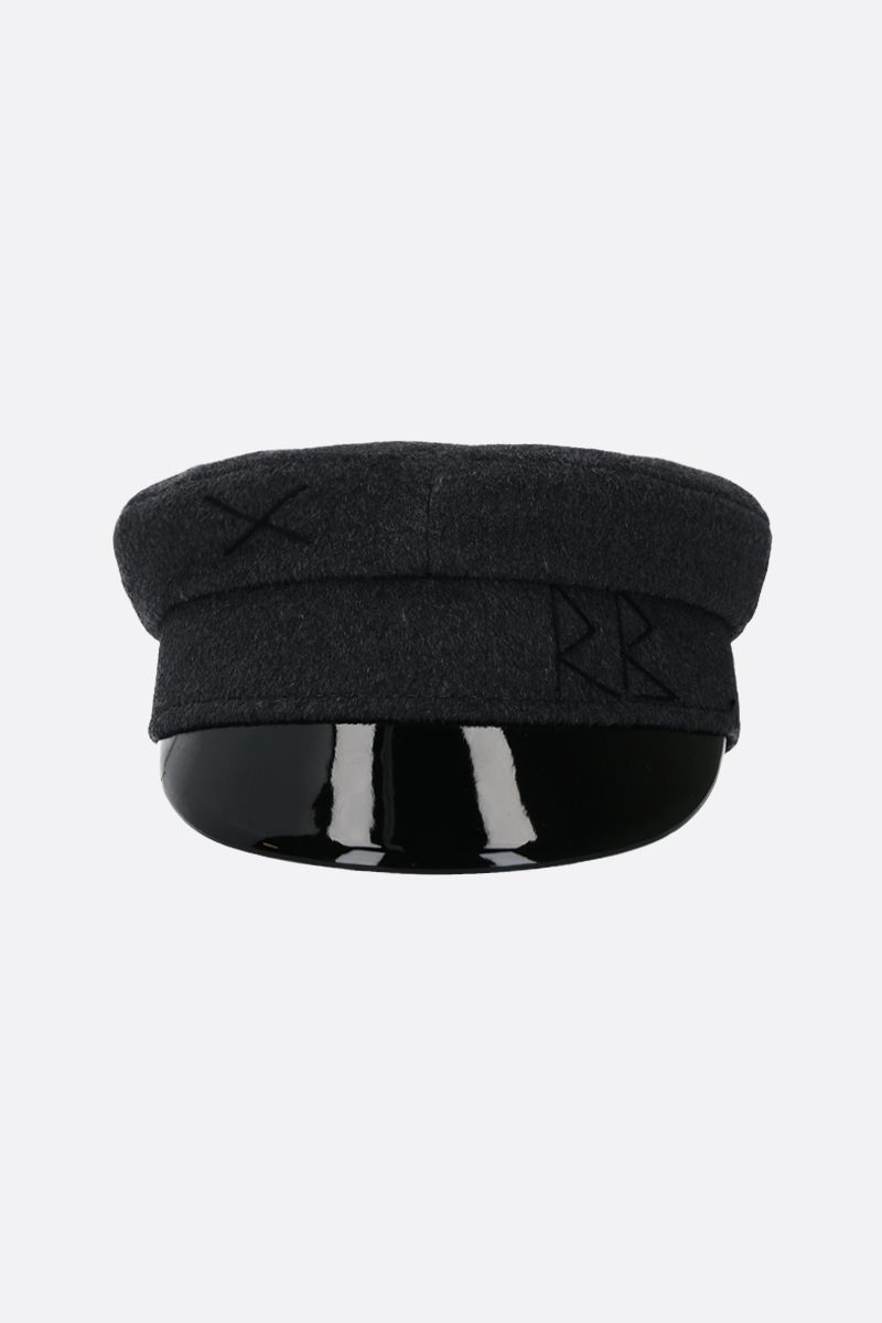 RUSLAN BAGINSKIY: wool felt baker boy cap Color Grey_1