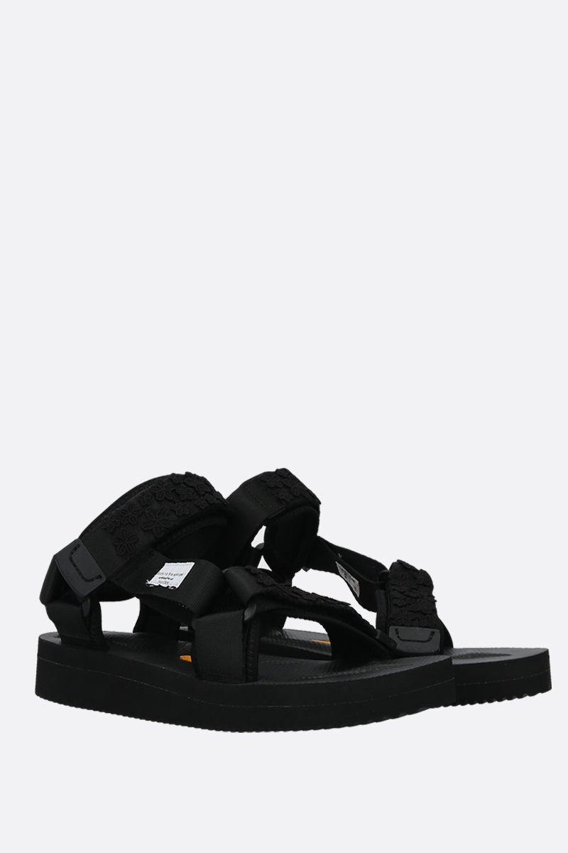 CECILIE BAHNSEN: Maria nylon flat sandals Color Black_2