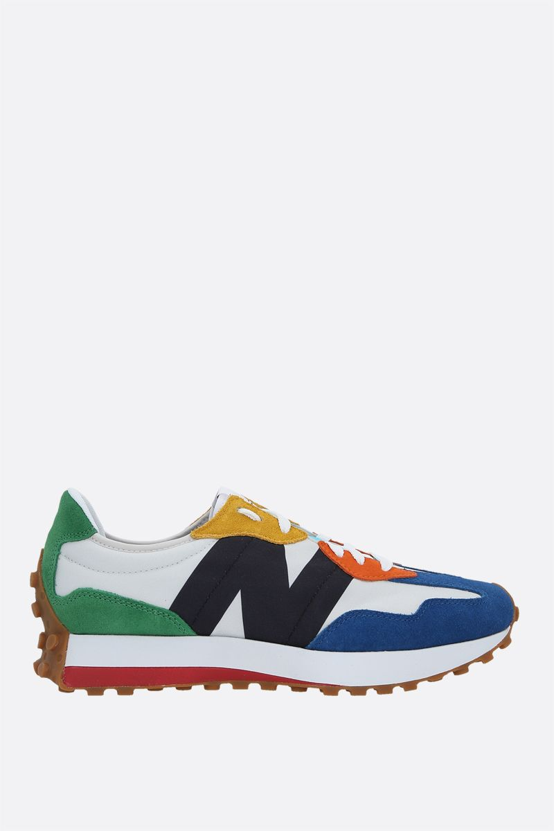 NEW BALANCE: 327 nylon and suede sneakers Color Grey_1