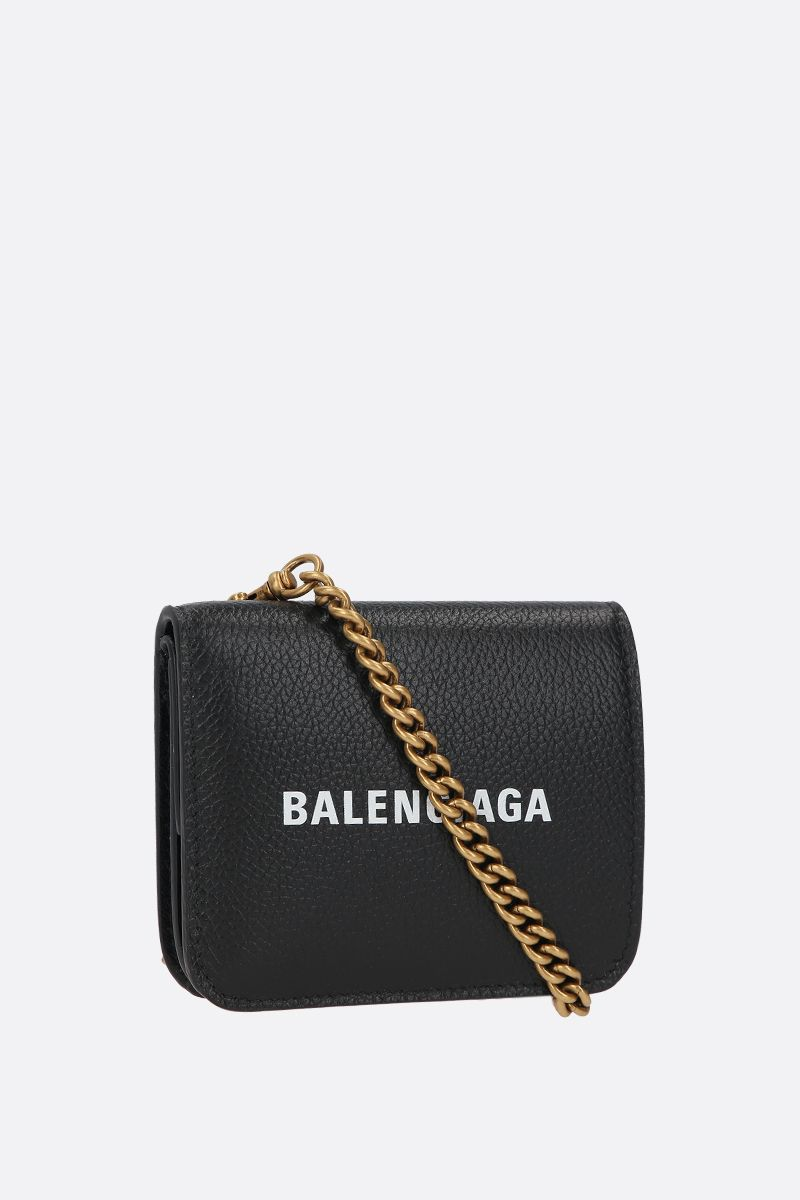 BALENCIAGA: Cash grainy leather flap coinpurse on chain Color Black_2