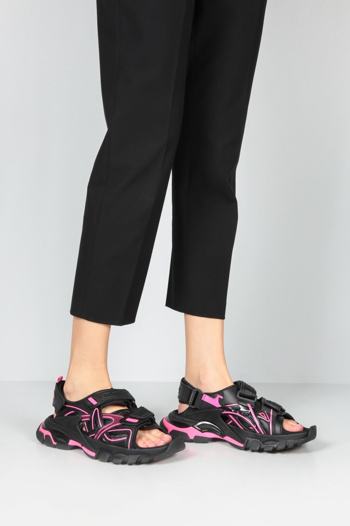 BALENCIAGA: Track faux leather and rubber sandals Color Black_2