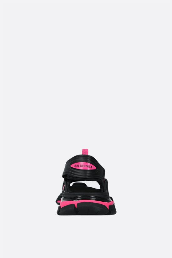 BALENCIAGA: Track faux leather and rubber sandals Color Black_3